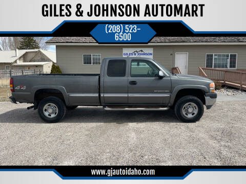 2001 GMC Sierra 2500HD for sale at GILES & JOHNSON AUTOMART in Idaho Falls ID