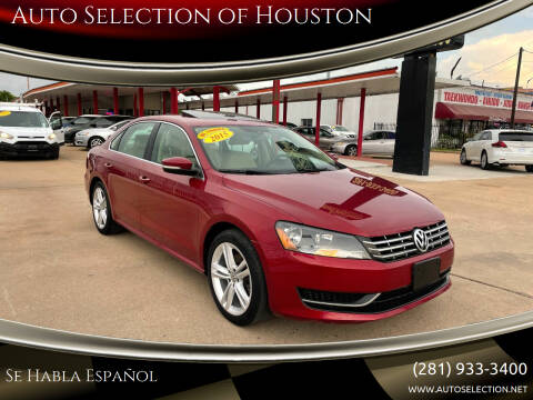 2015 Volkswagen Passat for sale at Auto Selection of Houston in Houston TX