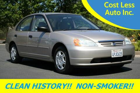 2001 Honda Civic for sale at Cost Less Auto Inc. in Rocklin CA