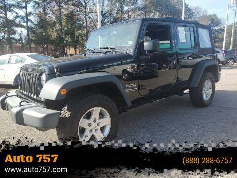 2016 Jeep Wrangler Unlimited for sale at Auto 757 - In House Finance in Norfold VA