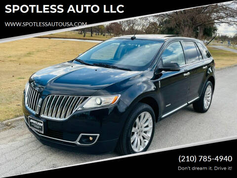 2013 Lincoln MKX for sale at SPOTLESS AUTO LLC in San Antonio TX