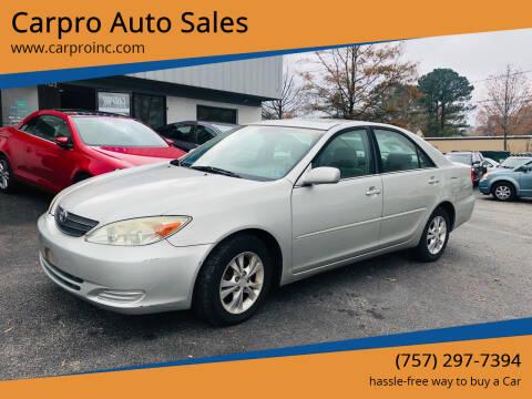 2004 Toyota Camry for sale at Carpro Auto Sales in Chesapeake VA