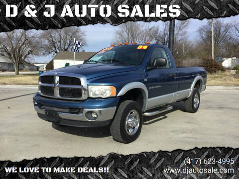 2004 Dodge Ram Pickup 2500 for sale at D & J AUTO SALES in Joplin MO