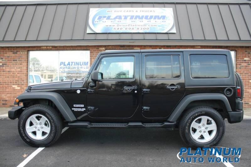 2013 Jeep Wrangler Unlimited for sale at Platinum Auto World in Fredericksburg VA