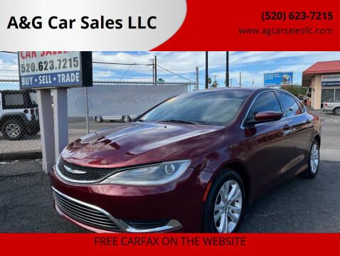2016 Chrysler 200 for sale at A&G Car Sales  LLC in Tucson AZ