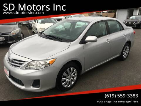 2013 Toyota Corolla for sale at SD Motors Inc in La Mesa CA