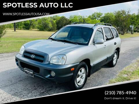 2005 Hyundai Santa Fe for sale at SPOTLESS AUTO LLC in San Antonio TX