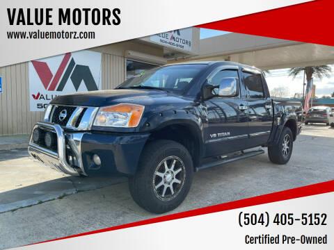 2012 Nissan Titan for sale at VALUE MOTORS in Kenner LA