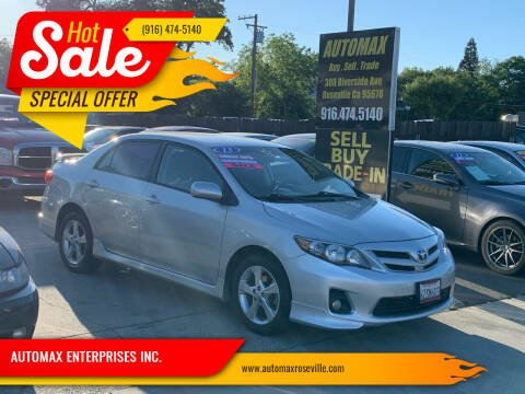 2013 Toyota Corolla for sale at AUTOMAX ENTERPRISES INC. in Roseville CA
