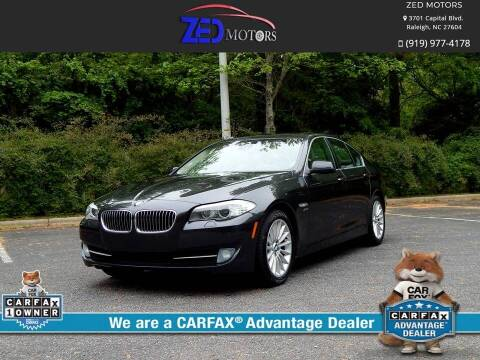 2012 BMW 5 Series for sale at Zed Motors in Raleigh NC