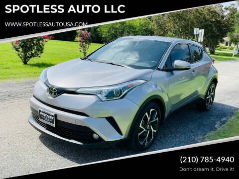 2018 Toyota C-HR for sale at SPOTLESS AUTO LLC in San Antonio TX