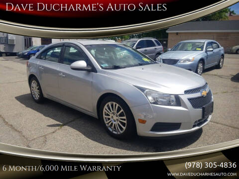 2012 Chevrolet Cruze for sale at Dave Ducharme's Auto Sales in Lowell MA