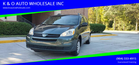 2004 Toyota Sienna for sale at K & O AUTO WHOLESALE INC in Jacksonville FL
