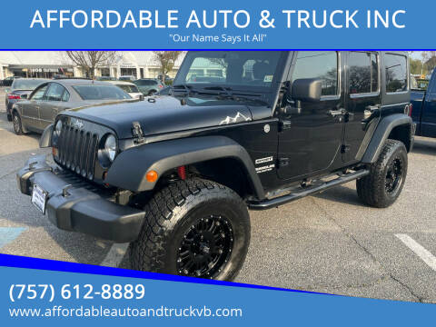 2013 Jeep Wrangler Unlimited for sale at AFFORDABLE AUTO & TRUCK INC in Virginia Beach VA