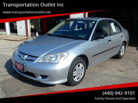 2005 Honda Civic for sale at Transportation Outlet Inc in Eastlake OH