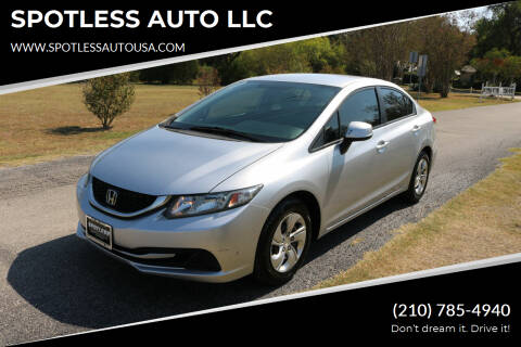 2013 Honda Civic for sale at SPOTLESS AUTO LLC in San Antonio TX