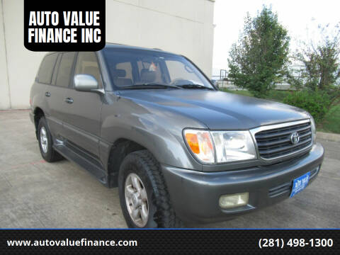 2000 Toyota Land Cruiser for sale at AUTO VALUE FINANCE INC in Stafford TX