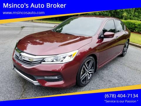 2017 Honda Accord for sale at Msinco's Auto Broker in Snellville GA
