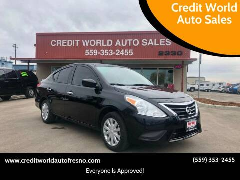 2015 Nissan Versa for sale at Credit World Auto Sales in Fresno CA