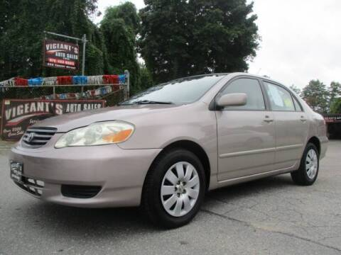 2003 Toyota Corolla for sale at Vigeants Auto Sales Inc in Lowell MA