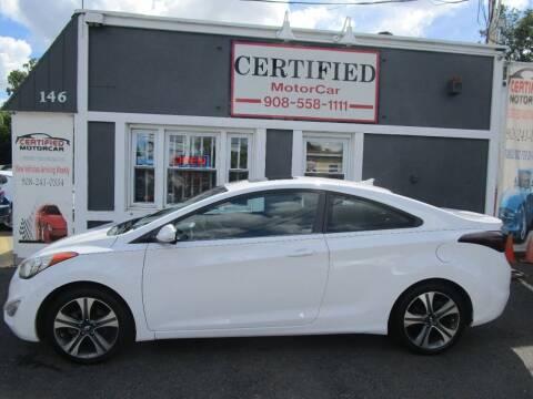 2013 Hyundai Elantra Coupe for sale at CERTIFIED MOTORCAR LLC in Roselle Park NJ