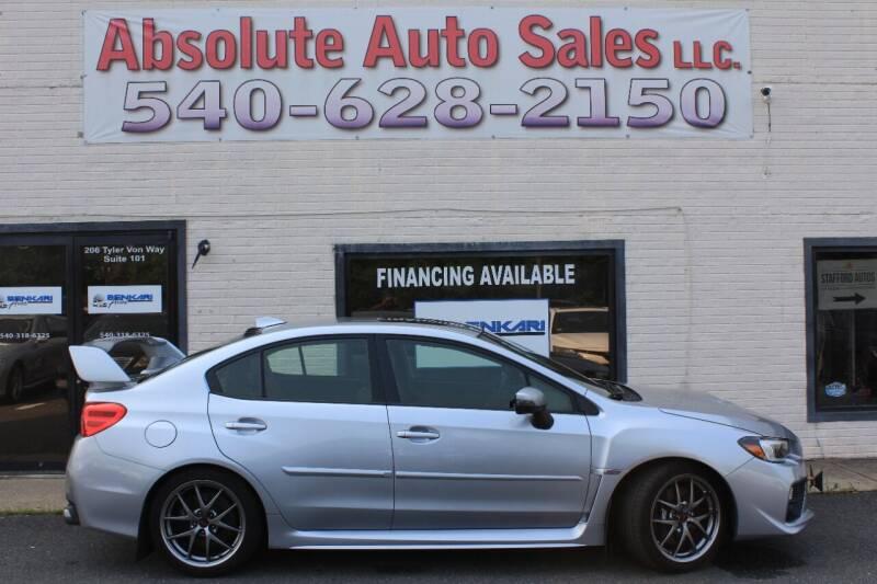 2015 Subaru WRX for sale at Absolute Auto Sales in Fredericksburg VA