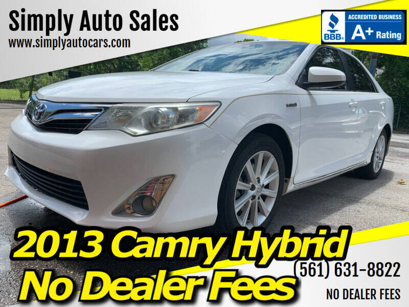 2013 Toyota Camry Hybrid for sale at Simply Auto Sales in Palm Beach Gardens FL