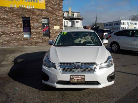 2012 Subaru Impreza for sale at MAIN STREET MOTORS in Worcester MA