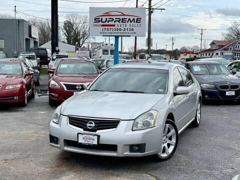 2008 Nissan Maxima for sale at Supreme Auto Sales in Chesapeake VA