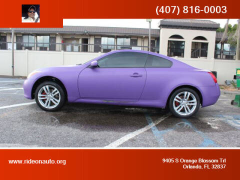 2009 Infiniti G37 Coupe for sale at Ride On Auto in Orlando FL
