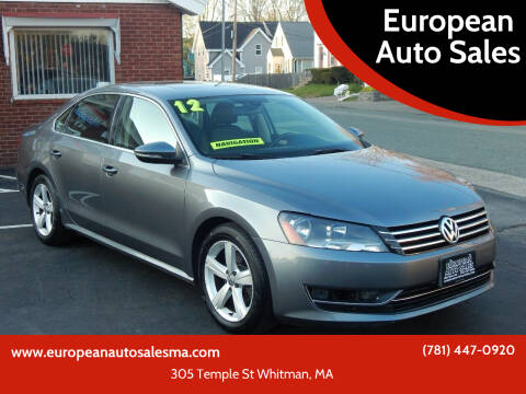2012 Volkswagen Passat for sale at European Auto Sales in Whitman MA