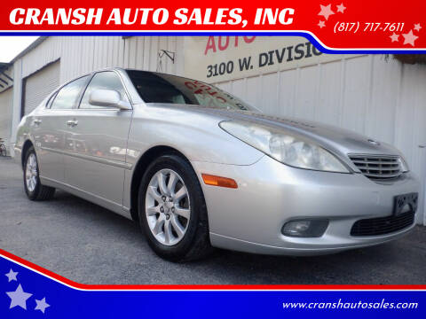 2002 Lexus ES 300 for sale at CRANSH AUTO SALES, INC in Arlington TX