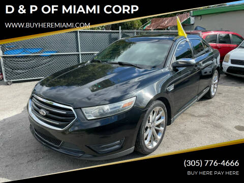 2013 Ford Taurus for sale at D & P OF MIAMI CORP in Miami FL