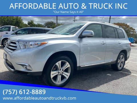 2012 Toyota Highlander for sale at AFFORDABLE AUTO & TRUCK INC in Virginia Beach VA