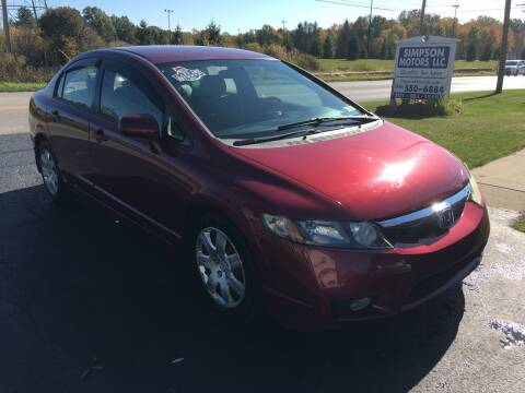 2010 Honda Civic for sale at SIMPSON MOTORS in Youngstown OH