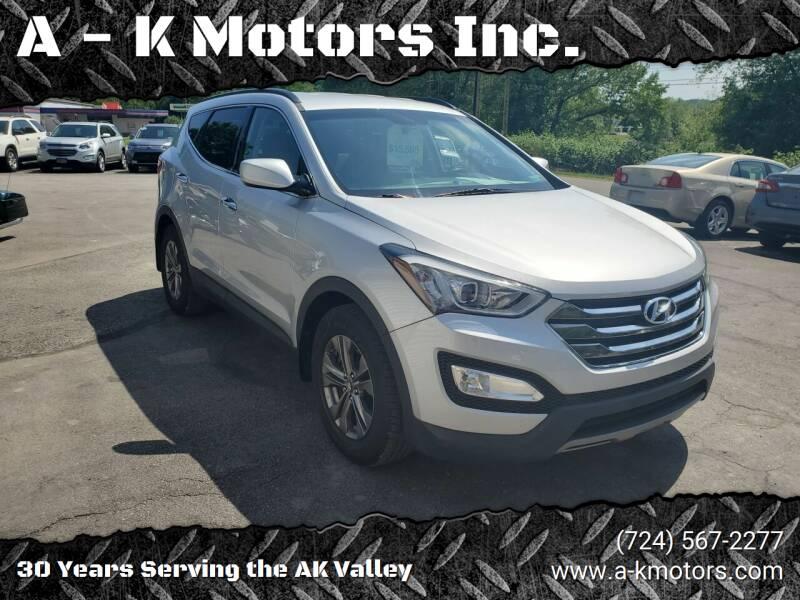 2014 Hyundai Santa Fe Sport for sale at A - K Motors Inc. in Vandergrift PA
