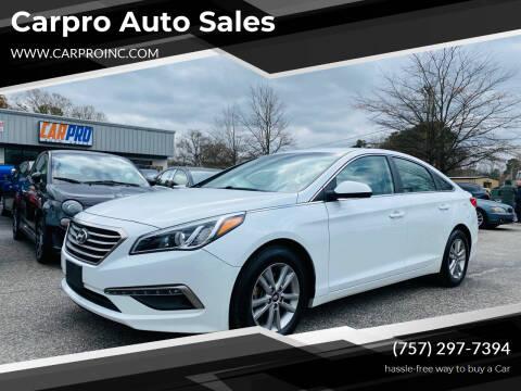 2015 Hyundai Sonata for sale at Carpro Auto Sales in Chesapeake VA