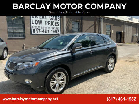 2010 Lexus RX 450h for sale at BARCLAY MOTOR COMPANY in Arlington TX