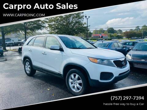 2011 Kia Sorento for sale at Carpro Auto Sales in Chesapeake VA