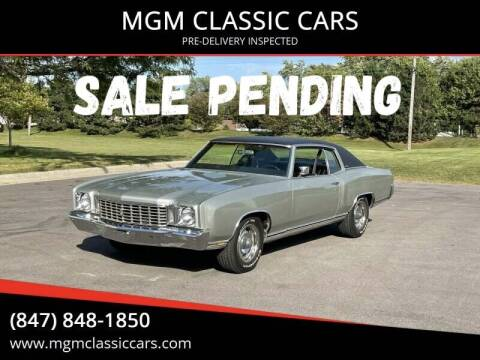 1972 Chevrolet Monte Carlo for sale at MGM CLASSIC CARS-New Arrivals in Addison IL