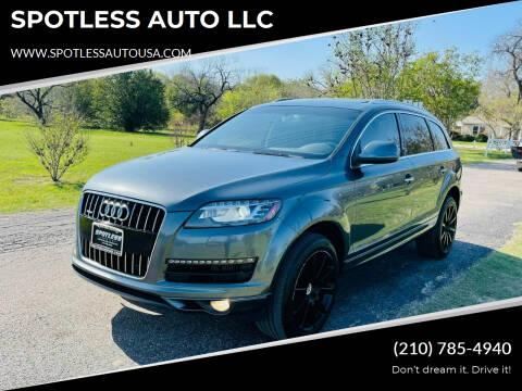 2015 Audi Q7 for sale at SPOTLESS AUTO LLC in San Antonio TX
