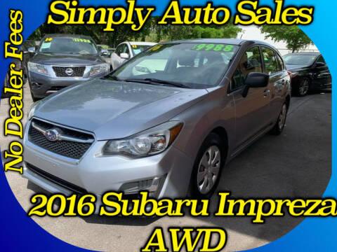 2016 Subaru Impreza for sale at Simply Auto Sales in Palm Beach Gardens FL