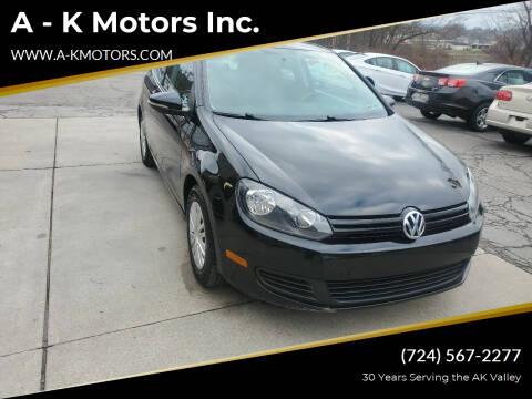2013 Volkswagen Golf for sale at A - K Motors Inc. in Vandergrift PA