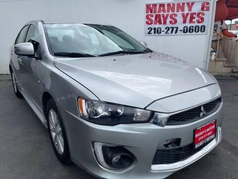 2016 Mitsubishi Lancer for sale at Manny G Motors in San Antonio TX