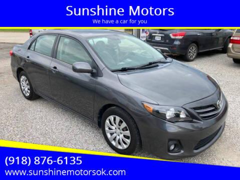 2013 Toyota Corolla for sale at Sunshine Motors in Bartlesville OK