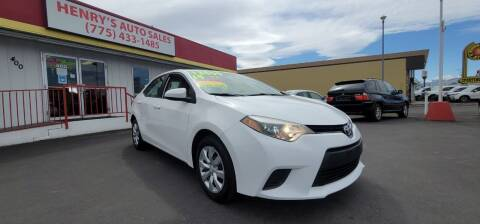 2014 Toyota Corolla for sale at Henry's Autosales, LLC in Reno NV
