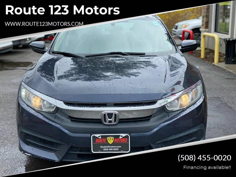 2016 Honda Civic for sale at Route 123 Motors in Norton MA