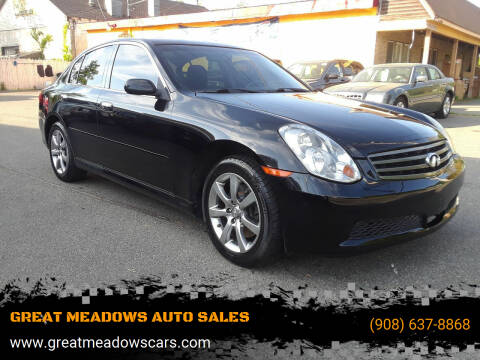 2006 Infiniti G35 for sale at GREAT MEADOWS AUTO SALES in Great Meadows NJ