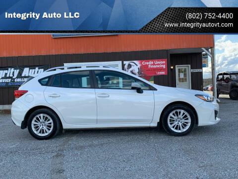 2018 Subaru Impreza for sale at Integrity Auto LLC in Sheldon VT