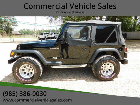 2002 Jeep Wrangler for sale at Commercial Vehicle Sales in Ponchatoula LA
